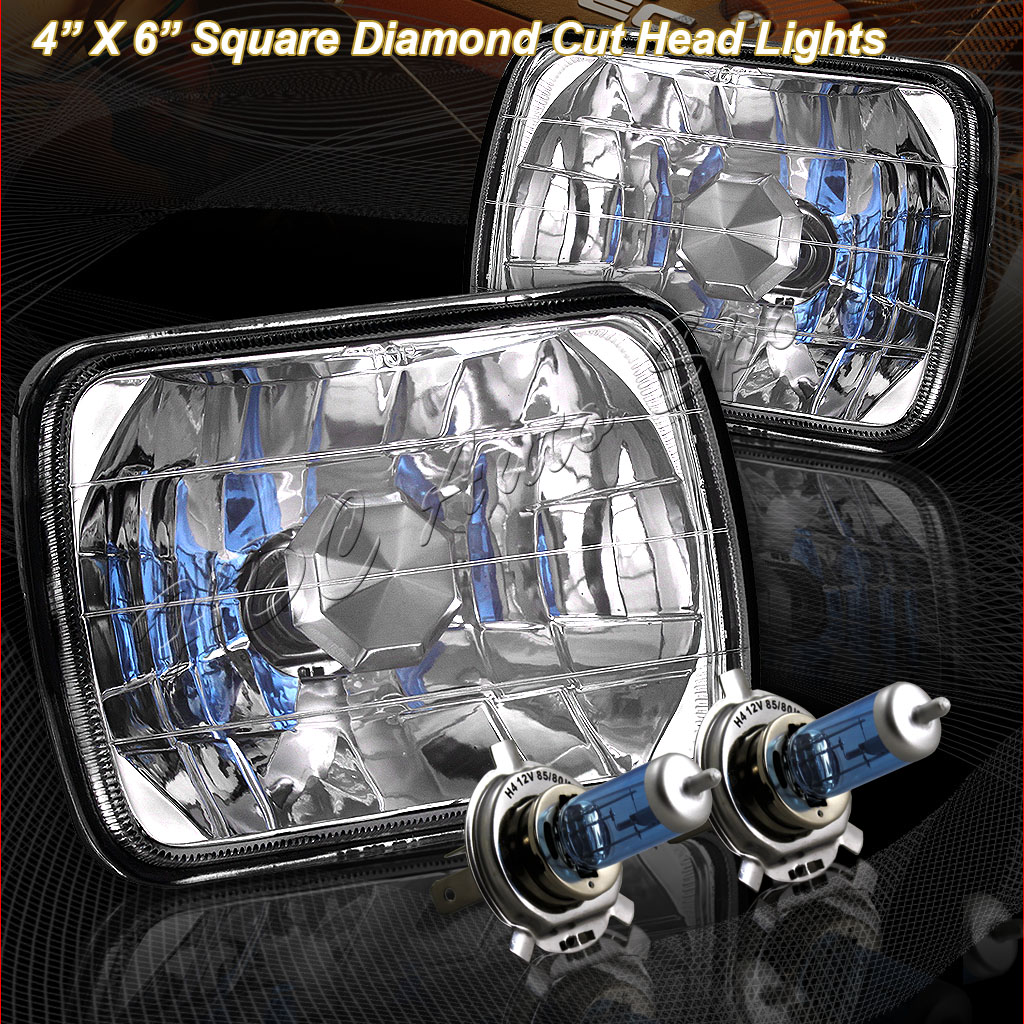 "83-86 Pontiac Bonneville 4""x6"" Chrome Diamond-Cut Headlights"