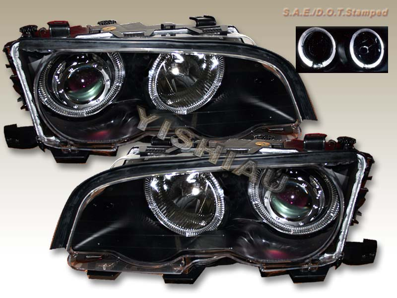 99-01 BMW E46 3-Series (2D) Black Dual Halo Projector Headlights