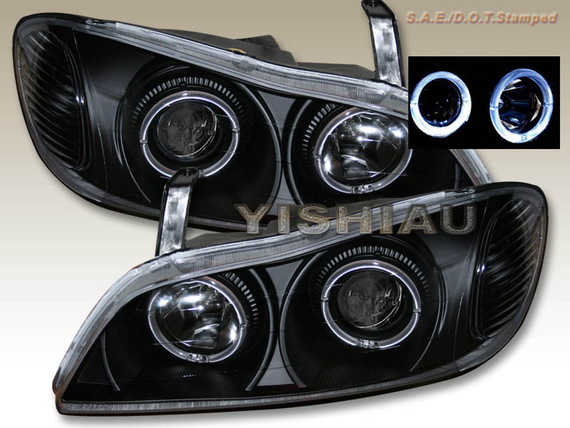 00-01 Infiniti I-30 Black Dual Halo Projector Headlights