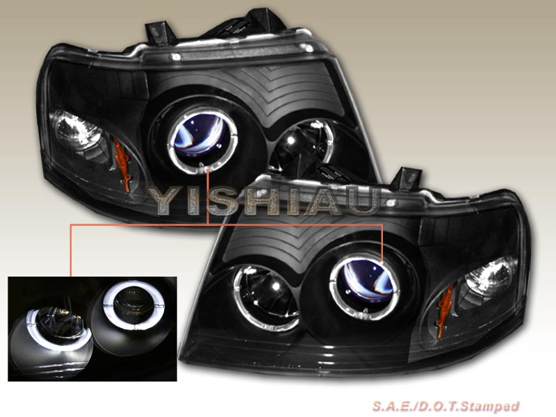 03-06 Ford Expedition Black Dual Halo Projector Headlights