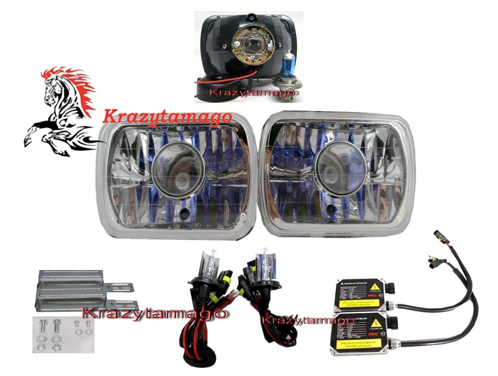 "82-95 Toyota Pickup Chrome 4""x6"" Projector Headlights w/HID Kit"