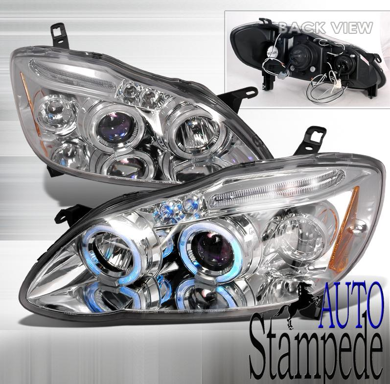 03-07 Toyota Corolla Chrome LED Halo Projector Headlights