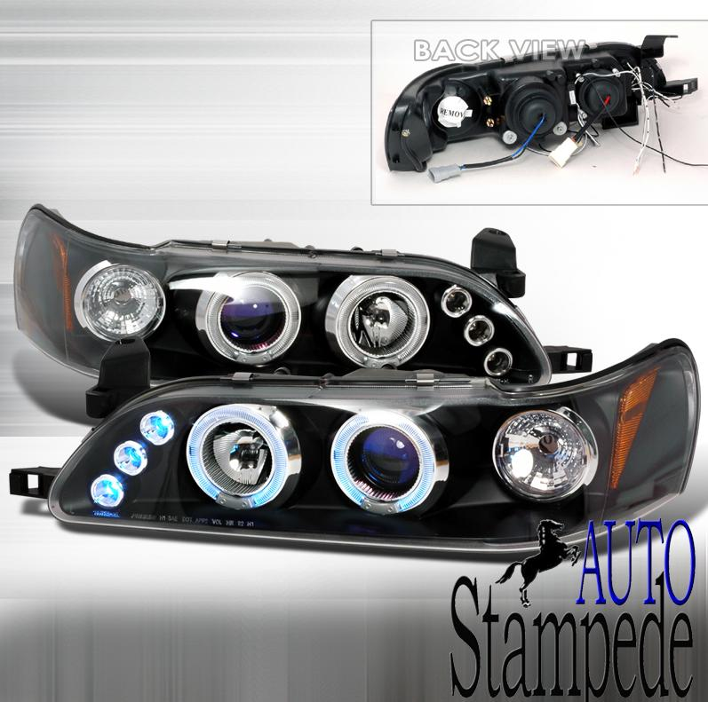 93-97 Toyota Corolla Black LED Halo Projector Headlights