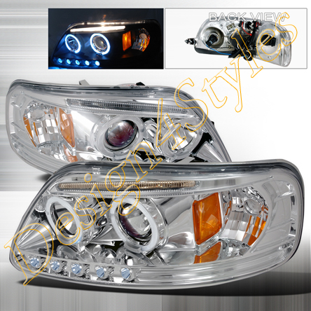 97-02 Ford Expedition Chrome LED Halo Projector Headlights