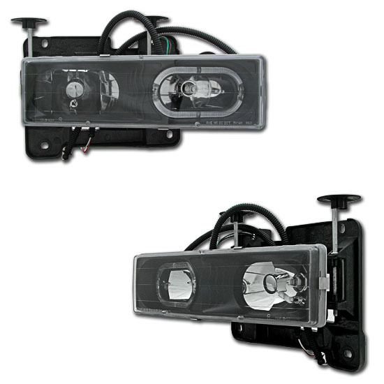 88-98 GMC C/K Pickup Black Crystal Halo Projector Headlights
