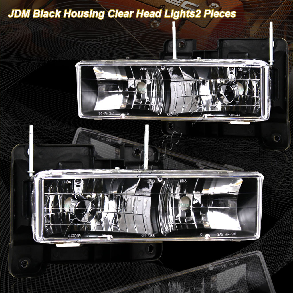 88-93 GMC C/K Pickup Black Euro Crystal Headlights