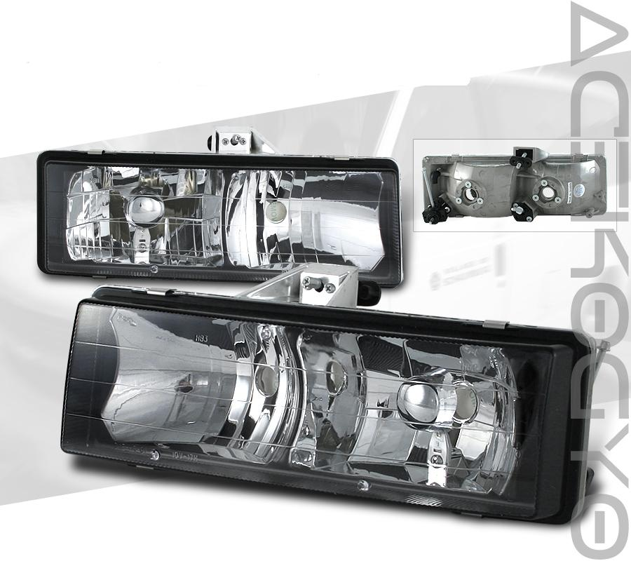95-05 GMC Safari Black Euro Diamond-Cut Headlights