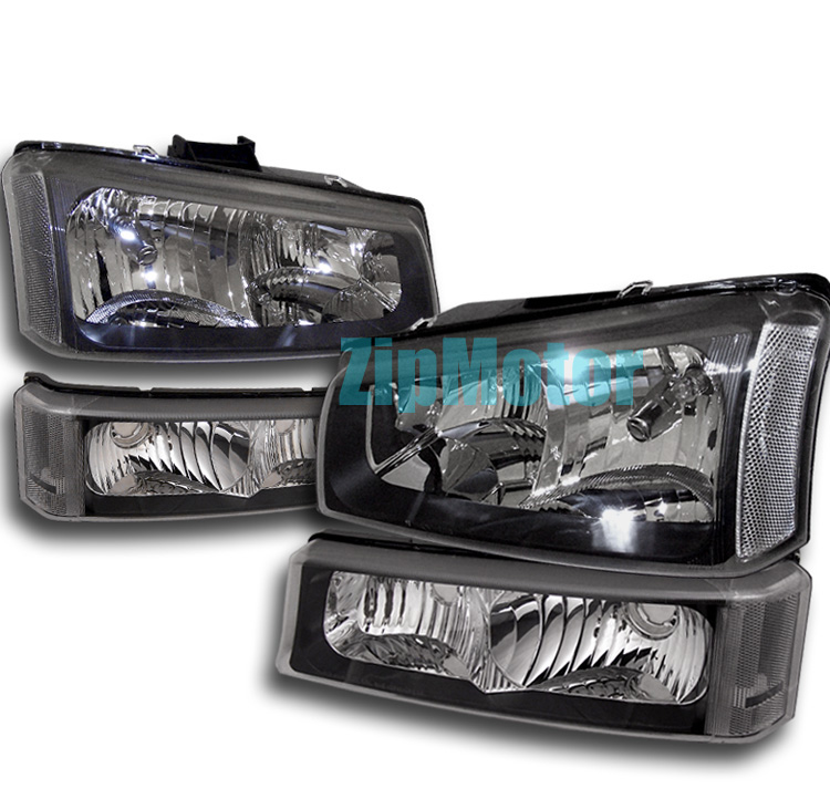 03-06 Chevrolet Silverado Black Headlights w/ Bumper Lights