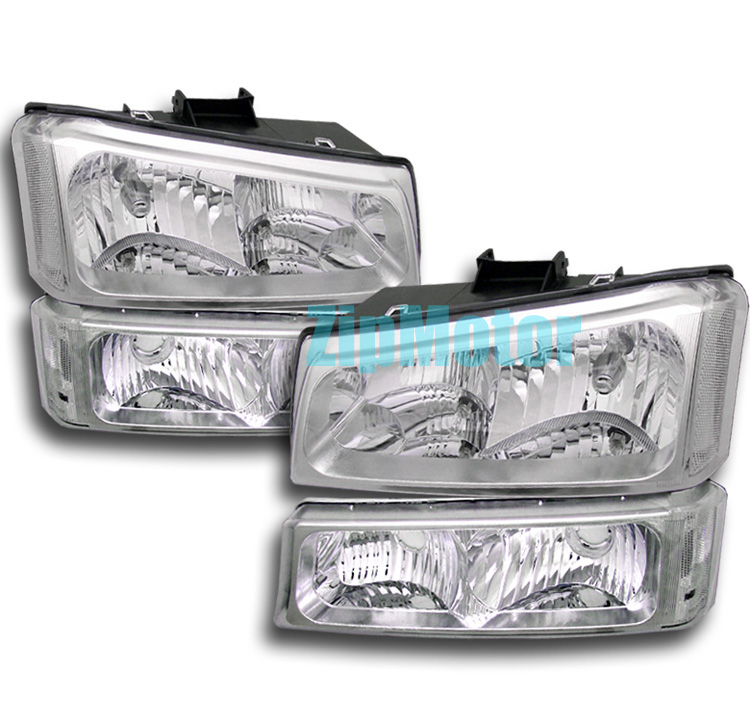 03-06 Chevrolet Silverado Chrome Headlights w/ Bumper Lights