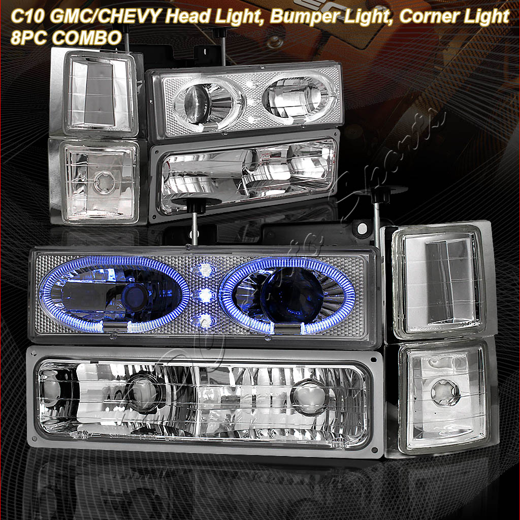 88-98 GMC Sierra Chrome 8-Piece LED Projector Headlights