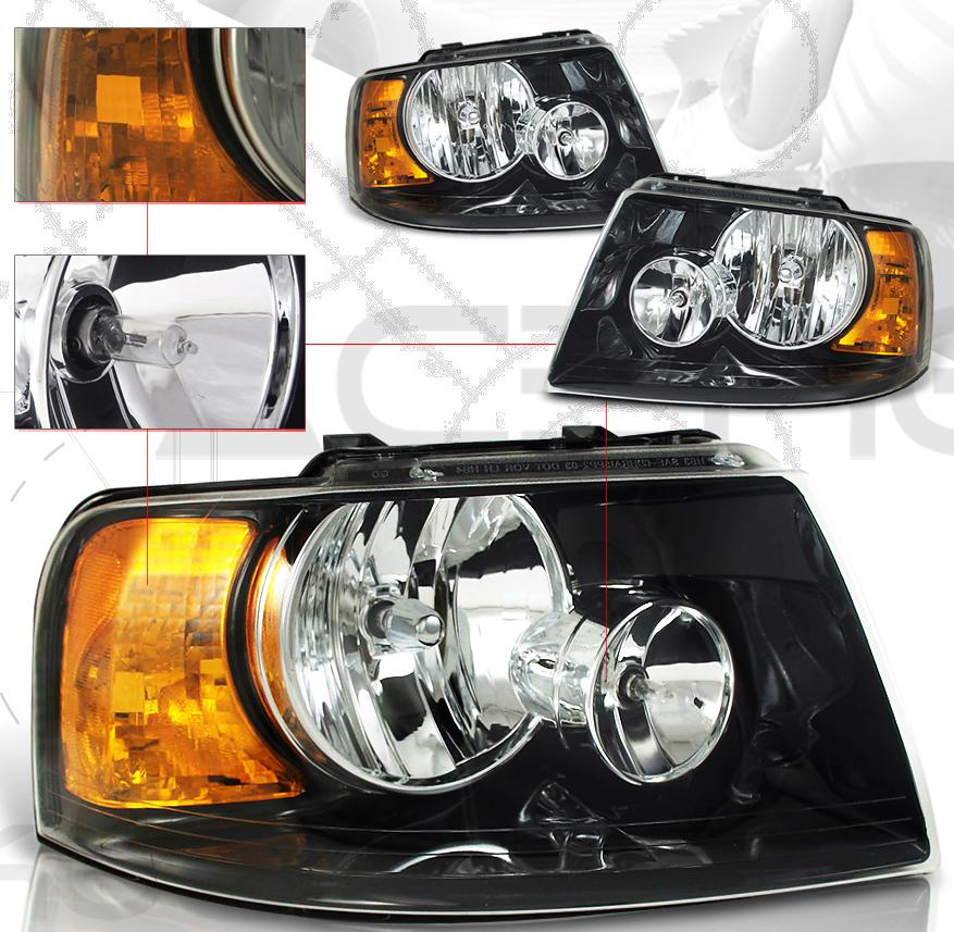 03-06 Ford Expedition Black Euro Crystal Headlights