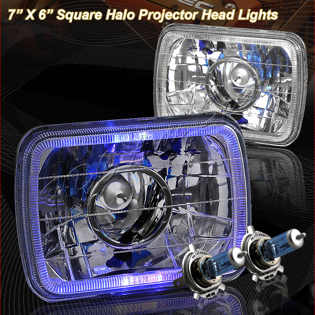 "80-87 Toyota Tercel 7""x6"" Chrome LED Halo Projector Headlights"