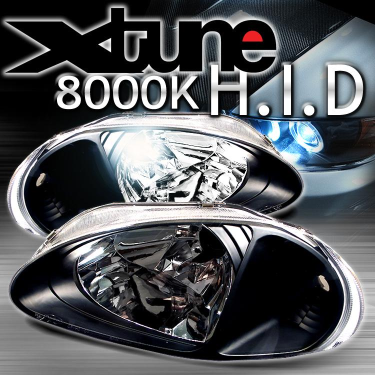 93-97 Honda Del Sol Black Crystal HID Headlights