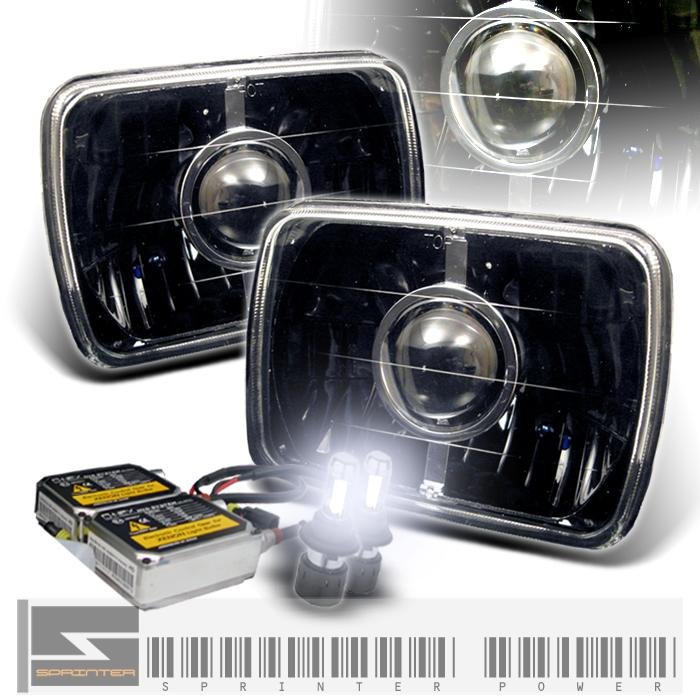 "86-97 Mazda RX7 7""x6"" Black Projector Headlights w/HID Kit"